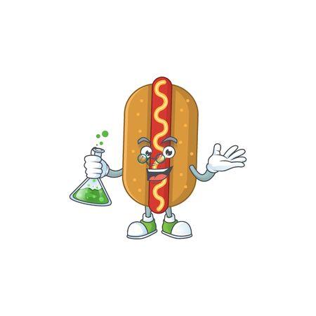 Hotdog smart Professor Cartoon character holding glass tube on the lab Иллюстрация
