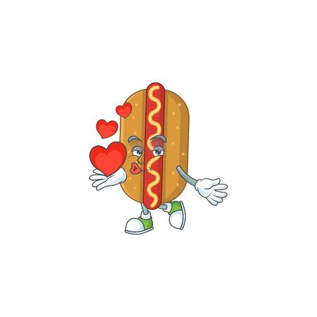A gorgeous caricature design of hotdog with red hearts. Vector illustration
