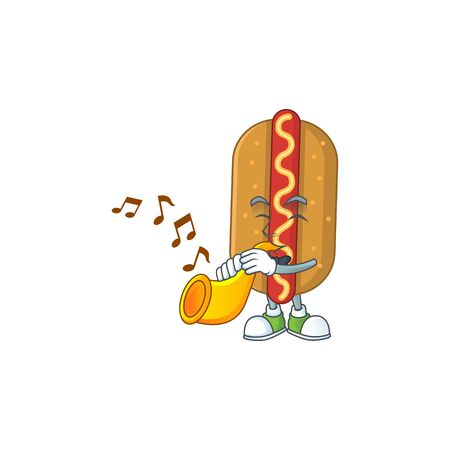 Talented musician of hotdog mascot design playing music with a trumpet. Vector illustration