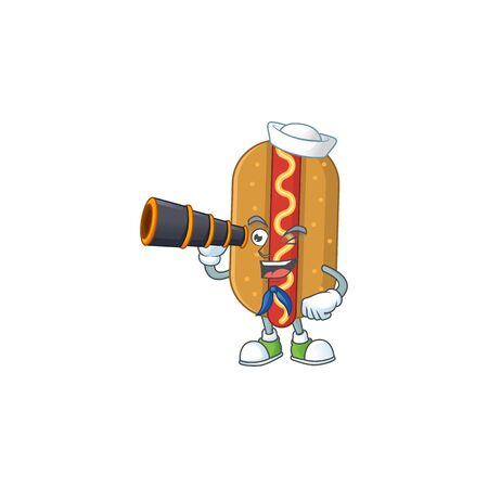 cartoon picture of hotdog in Sailor character using a binocular. Vector illustration