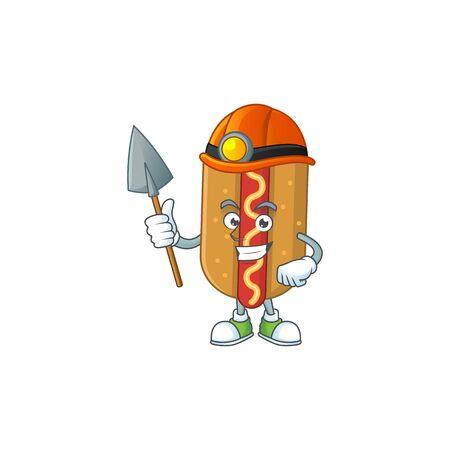 Hotdog as a miner cartoon character design. Vector illustration Çizim
