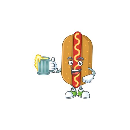 A cheerful hotdog cartoon mascot style toast with a glass of beer. Vector illustration