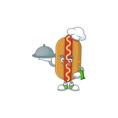 A hotdog chef cartoon mascot design with hat and tray. Vector illustration Illusztráció