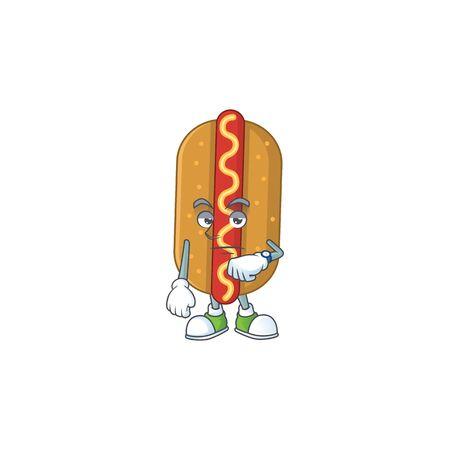 Hotdog showing waiting gesture cartoon design concept. Vector illustration