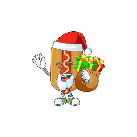 Santa hotdog Cartoon drawing design with sacks of gifts. Vector illustration
