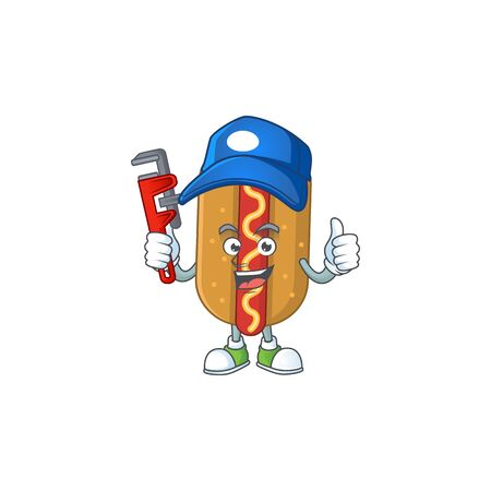 Hotdog Cartoon drawing concept work as smart Plumber. Vector illustration
