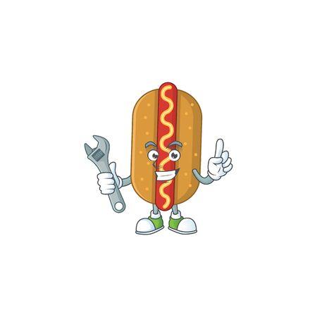 A smart mechanic hotdog cartoon mascot design fix a broken machine. Vector illustration