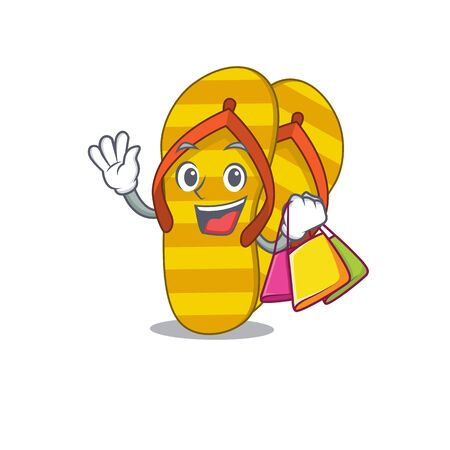 wealthy flip flops cartoon character with shopping bags