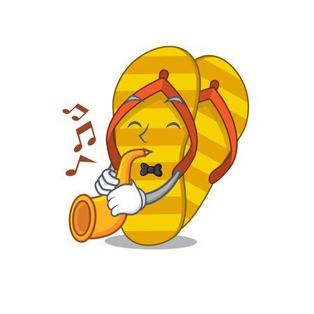 Flip flops musician of cartoon design playing a trumpet Stok Fotoğraf - 148144214