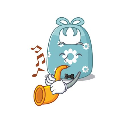 Baby apron musician of cartoon design playing a trumpet