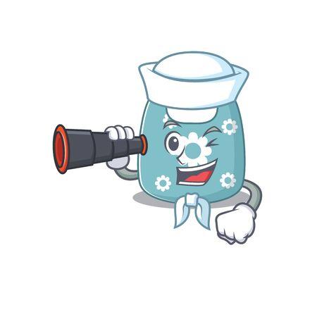A cartoon picture of baby apron Sailor using binocular