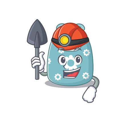 A cartoon picture of baby apron miner with tool and helmet