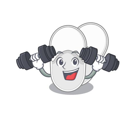 Hotel slippers mascot design feels happy lift up barbells during exercise