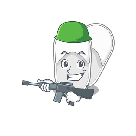 A cartoon picture of Army hotel slippers holding machine gun 向量圖像