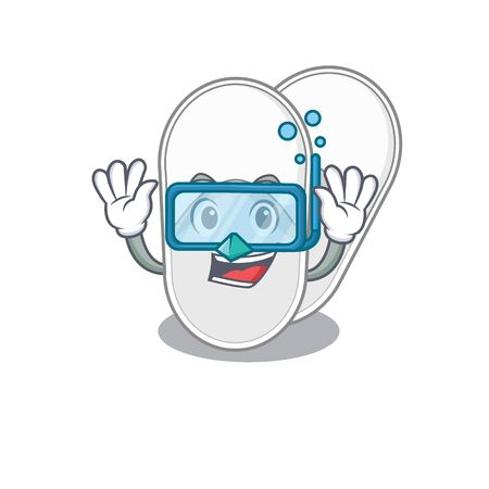 Hotel slippers mascot design swims with diving glasses 向量圖像