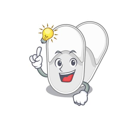 Mascot character of smart hotel slippers has an idea gesture