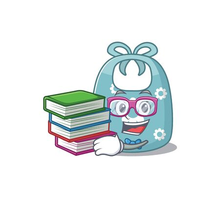 A diligent student in baby apron mascot design concept read many books