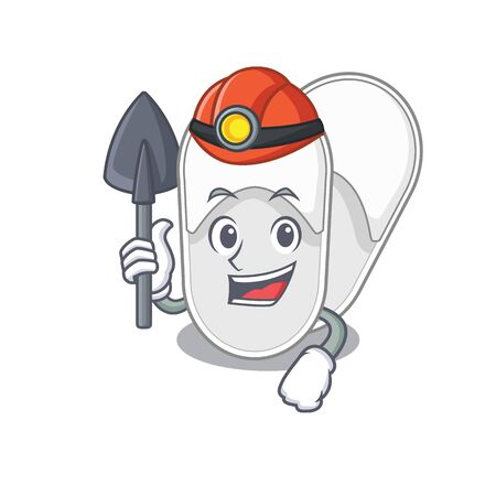 A cartoon picture of hotel slippers miner with tool and helmet