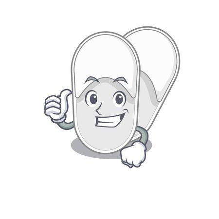 Hotel slippers cartoon character design showing OK finger