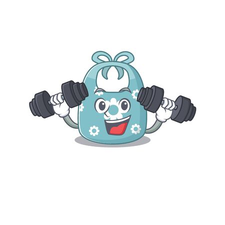 Baby apron mascot design feels happy lift up barbells during exercise
