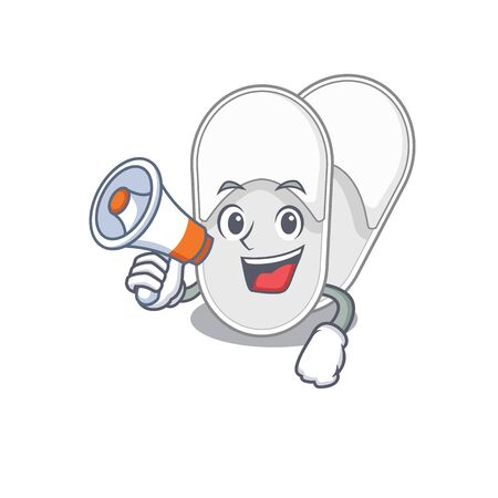 Mascot design of hotel slippers announcing new products on a megaphone