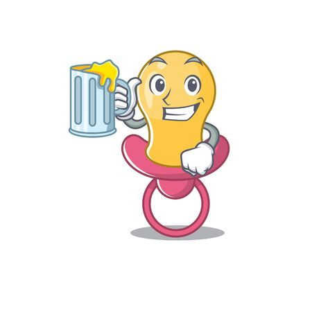 A cartoon concept of baby pacifier with a glass of beer Çizim