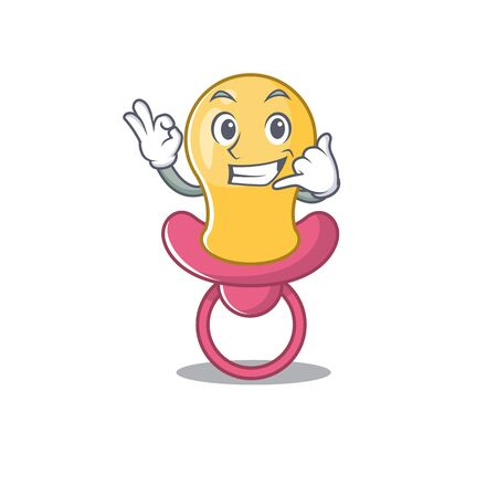 Caricature design of baby pacifier showing call me funny gesture Çizim