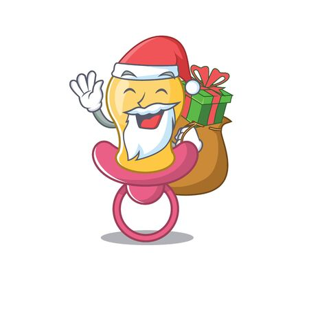 Cartoon design of baby pacifier Santa having Christmas gift