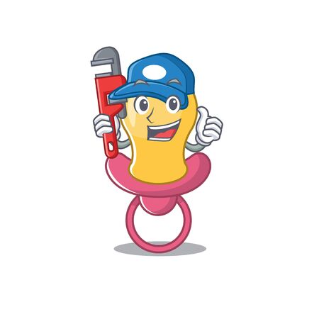 cartoon character design of baby pacifier as a Plumber with tool