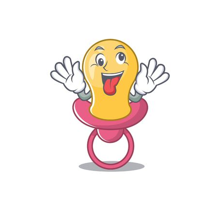 A mascot design of baby pacifier having a funny crazy face Çizim