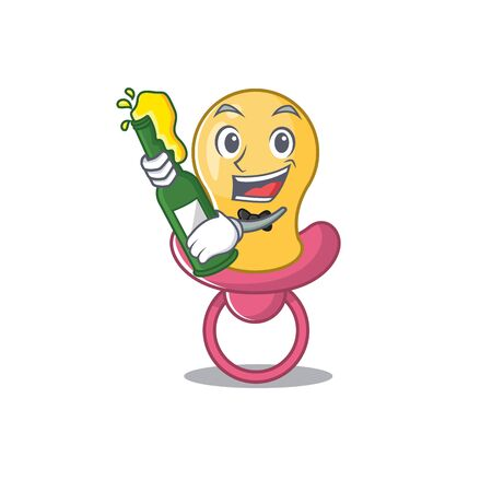 caricature design concept of baby pacifier cheers with bottle of beer