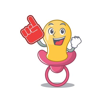 Baby pacifier in cartoon drawing character design with Foam finger Çizim