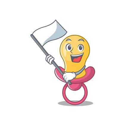 A heroic baby pacifier mascot character design with white flag