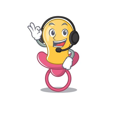 A stunning baby pacifier mascot character concept wearing headphone