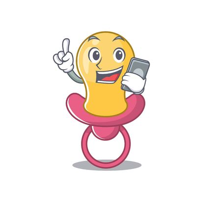 Baby pacifier caricature character speaking with friends on phone