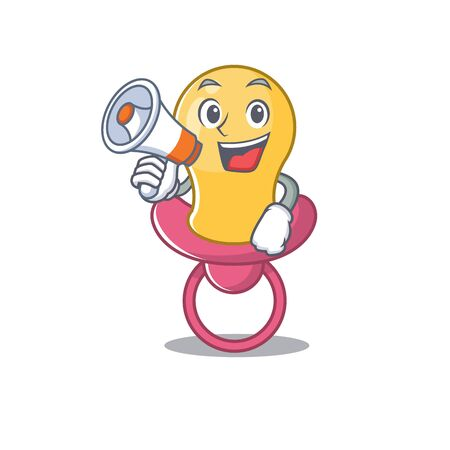Mascot design of baby pacifier announcing new products on a megaphone Çizim