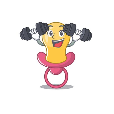 Baby pacifier mascot design feels happy lift up barbells during exercise