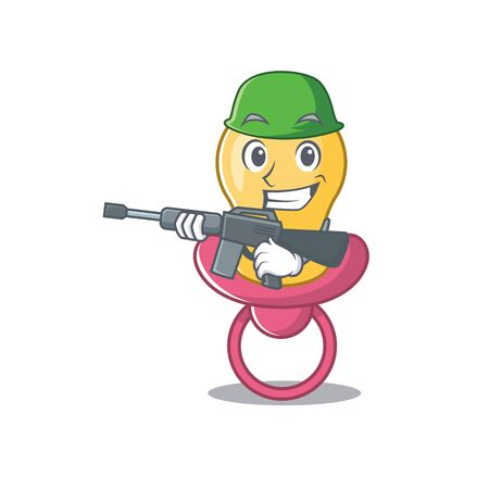 A cartoon picture of Army baby pacifier holding machine gun