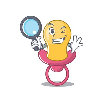 cartoon picture of baby pacifier Detective using tools Çizim