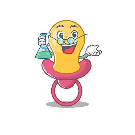caricature character of baby pacifier smart Professor working on a lab Çizim