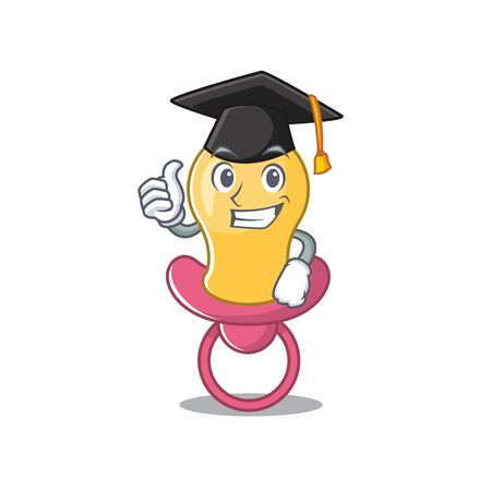 Happy proud of baby pacifier caricature design with hat for graduation ceremony Çizim