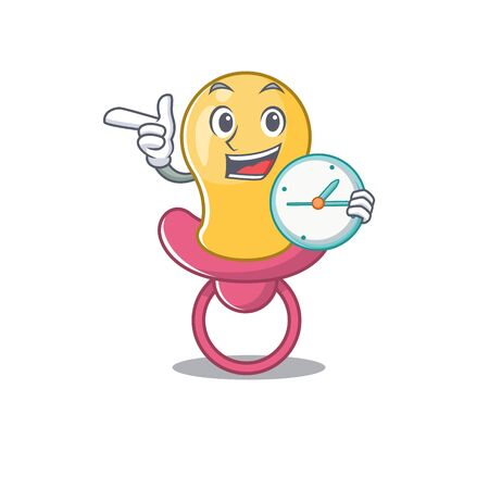 mascot design style of baby pacifier standing with holding a clock