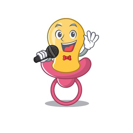 cartoon character of baby pacifier sing a song with a microphone