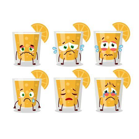 orange juice cartoon character with sad expression
