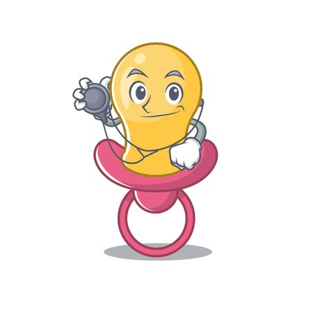 Smiley doctor cartoon character of baby pacifier with tools