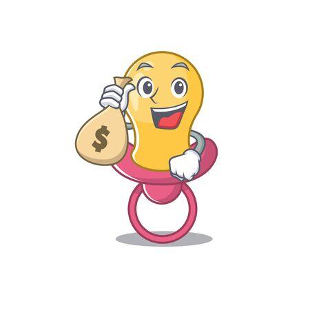Crazy rich baby pacifier mascot design having money bags