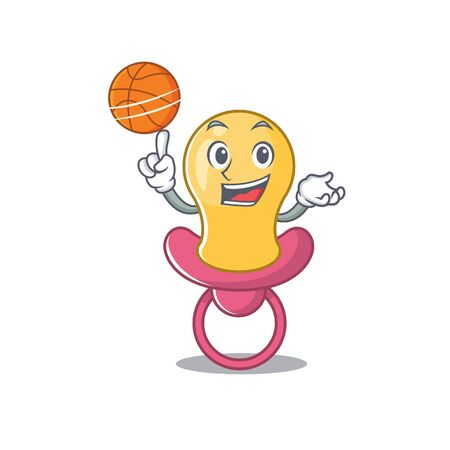 Sporty cartoon mascot design of baby pacifier with basketball