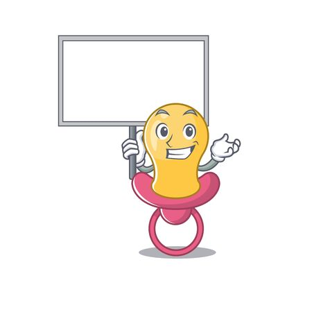 Cartoon picture of baby pacifier mascot design style carries a board