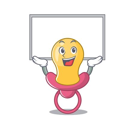 Caricature character of baby pacifier succeed lift up a board