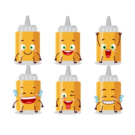 Cartoon character of mayonaise bottle with smile expression